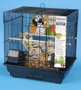 Penn Plax Square Parakeet Medium Bird Cage Kit Black