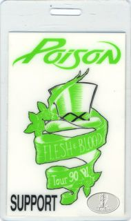 Poison 1990 91 Flesh Blood Tour Laminated Backstage Pass