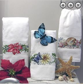 Aberdeen Hand Towel White Bath 14 Count Aida Cross Stitch 100 Cotton