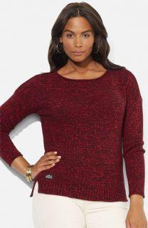 Lauren Ralph Lauren Marled Drop Shoulder Sweater (Plus)