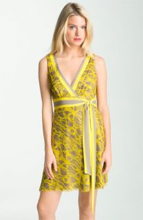 Catherine Malandrino Print Faux Wrap Silk Dress