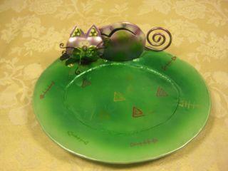 Cat Food Plate decorative cat art metal cat motif hand painted welded
