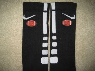 Sports Football Custom Nike Elite Socks Black w White Stripe L 8 12