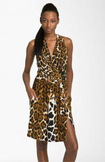 Robert Rodriguez Leopard Print Faux Wrap Dress