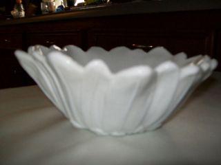 White Milk Glass Flower Design Bowl Dish Perfect