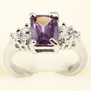 Princess Cut Purple Amethyst Cocktail A073 Ring
