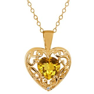 Heart Shape Citrine Diamond Gold Plated Sterling Silver Pendant