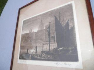 Antique Cyril Grey Etching St Pauls London Oak Backboar