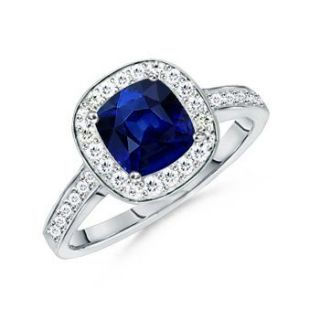 Sapphire and Cubic Zirconia Cushion Cut Ring