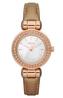 DKNY Glitz Small Round Dial Leather Strap Watch