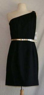 New Michael Kors Black One Shoulder Belted Dress 6 Small Gold $159