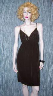Twelfth Street Cynthia Vincent Chocolate Brown Silk Slip Dress Medium
