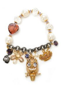 Betsey Johnson Tzar Owl Charm Stretch Bracelet