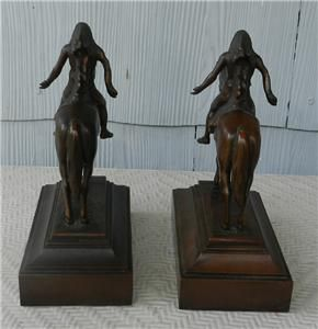 Pair Vintage Bronze Clad Cyrus Dallin Great Spirit Bookends Indian on
