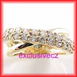 78 Carat Yellow Gold Plated 14k GP CZ Band Ring Size 4 5 6 7 8 9 10