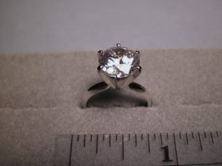 CZ Cubic Zirconia Solitaire Ring 3 Carat 6 Prong 14k White Gold
