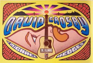 David Crosby, Michael Hedges orig 1989 concert poster Bill Graham