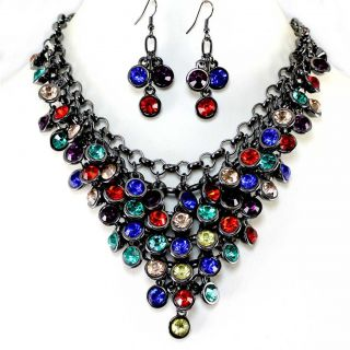 Crystal Bib Statement Earrings Necklace Set Costume Jewelry