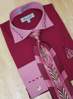 Fratello Wine Mauve Dash Design Shirt Tie Hanky 3XL