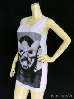Dave Grohl Foo Fighters Tank Top Grunge Rock White Singlet Mini Dress
