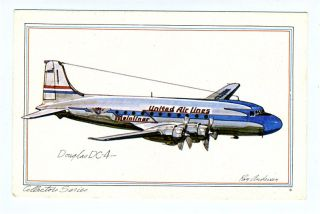 United Airlines Douglas DC 4 Collector Series Postcard