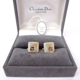 AUTHENTIC CHRISTIAN DIOR CUFFLINKS GOLD & BLACK COLOR w/ BOX