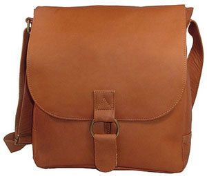 David King Vacquetta Leather Laptop Messenger Bag Tan