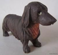 Vintage ANRI Wood Carving LONG HAIRED Black & Tan DACHSHUND Dog