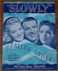 Angel starring Alice Faye and Dana Andrews 1945 Sheet Music