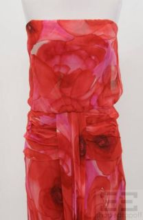 David Meister Pink Red Floral Print Strapless Evening Dress Size 12