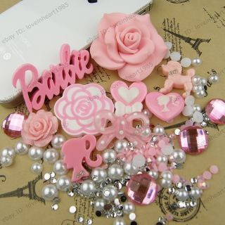 Cute Pink Heart Barbie Dag Candy DIY Mobile I Phone 4 4S Shell Deco