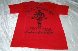 Vintage Golds Gym Culver City T Shirt Weight Barbell Small Made USA