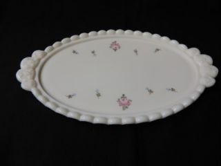 Westmoreland Milk Glass PANELED GRAPE Roses & Bows DRESSER SET
