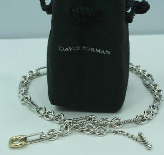 DAVID YURMAN 15 Sterling Silver 18K Gold Figaro Toggle Necklace Chain