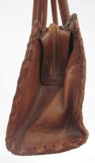 Alexis David Brown Leather Floral Shoulder Bag Handbag