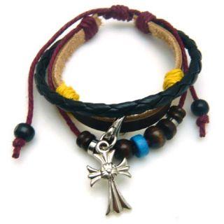 DAVID BECKHAM Style 3 layer fashion unisex bracelet with cross charm