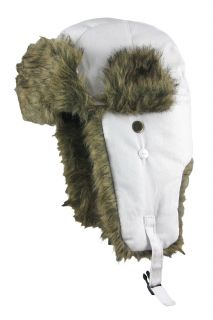White Dakota Dan Faux Fur Winter Trooper Hat Cap