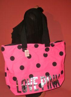 Victorias Secret Love Pink Polka Dot Tote Bag NWT