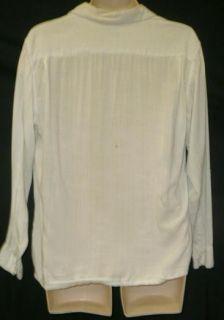 40s 50s MENS WHITE LINEN COTTON CLASSIC RICKY RICARDO GAB STYLE SHIRT