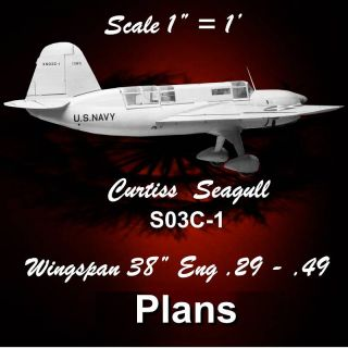 CONTROL LINE CARRIER Curtiss XS03C l MODEL AIRPLANE PLANS NOTES F S