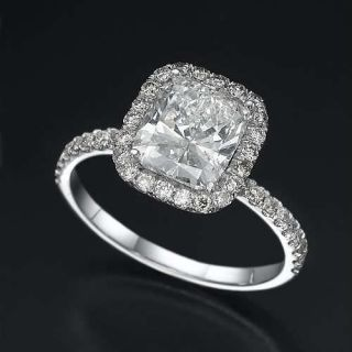 Certified 2 5 Carat Cushion Cut Diamond 18K Solid White Gold