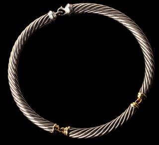 DAVID YURMAN 18K Gold & Sterling Silver Cable Choker Necklace