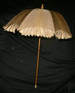 Orig Antique Vtg Civil War Victorian Dress Silk Taffeta Fold Parasol