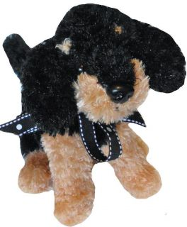 Dan Dee Puppy Dog Plush Stuffed Animal Tan Black sits 8 tall LNC