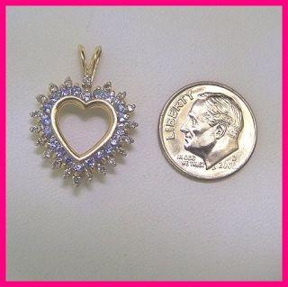 14k Yellow Gold Diamond Purple Amethyst Heart Pendant Charm 1 00ct