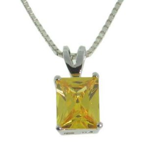 Solid Sterling Silver Emerald Cut Citrine Pendant Necklace