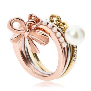 18K GP ARINNA Cute Bowknot Pearl Triple Cocktail Fashion Rings
