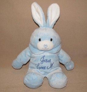 DAN DEE Blue BUNNY RABBIT Plush JESUS LOVES ME Heart STUFFED Toy
