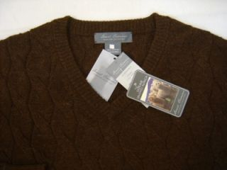 Un Dyed Genuine 100% Alpaca Daniel Cremieux Men M Cable Sweater VNeck