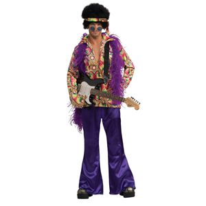 Purple Daze Jimi Hendrix Rock Star Fancy Dress Costume
